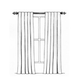 Inverted Box Pleated Waterfall Draperies. Tailored pleats cascading over a decorative pole. Suitable fabrics: Light to medium weight fabrics such as cottons, linens and silks.