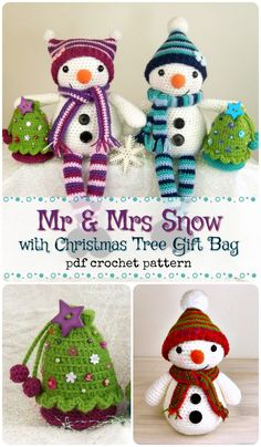 Cute crochet snowman pattern. I love their striped legs and fun beanies! pdf amigurumi crochet pattern to download. These look fun to make for Christmas decorations! #etsy #ad #toy #Christmas #winter #snowman #snowwoman