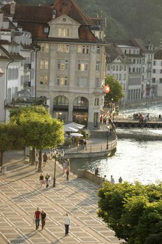 A Lucerne street scene in the city centre, near Lake Lucerne - Switzerland