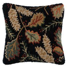 """18"""" square hand hooked pillow, 100% New Zealand Wool; littlebearinteriors.com"""