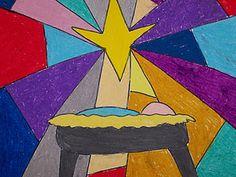 oil pastel nativity scene