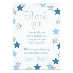 Stars Thank You Card Little star Silver Blue Boy