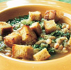 Escarole & White Bean Soup with Rustic Croutons.  You can sub swiss chard or kale for the escarole.