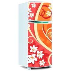 Adesivo de Geladeira Inteira - Floral 8