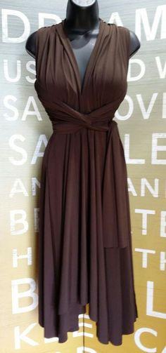 Victoria Secret Convertible Wrap Dress Brown Small Stretch Moda International VS #VictoriasSecret #WrapDress #Casual