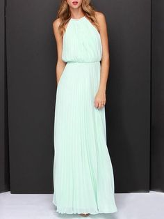 Mint Green Pink Cut Away Pleated Chiffon Maxi Dress