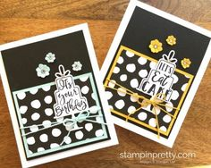 Celebration Time Stamp Set & Celebration Thinlits Dies Birthday Card.  Mary Fish, Stampin' Up! Demonstrator.  1000+ StampinUp & SUO card ideas.  Read more https://stampinpretty.com/2017/07/quick-celebration-time-birthday-card-ideas.html
