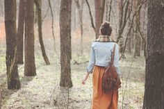 A walk in the woods with Maddy - pleated orange skirt by La redoute