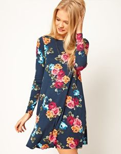 ASOS Swing Dress In Floral Print