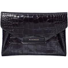 Givenchy Black Antigona Envelope Clutch Bag ($1,020) ❤ liked on Polyvore