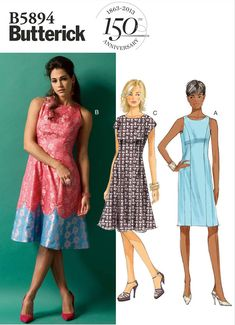 McCalls Sewing Pattern 4441 New Dress in 6 variations asymetric or frilled hem