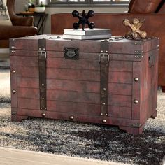 Williston Forge Pierre Coffee Table with Storage Drum Coffee Table, Large Coffee Tables, Coffee Table Wayfair, Coffee Table With Storage, Decorative Trunks, Decorative Storage Boxes, Upholstered Coffee Tables, Painted Trunk, Vintage Trunks