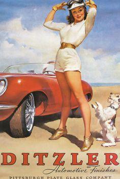 Pinups car vintage nud