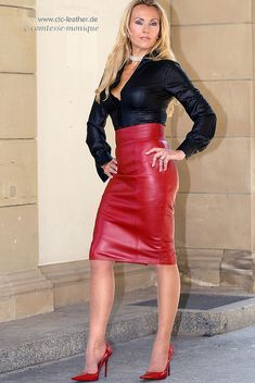 comtesse-monique_red leather skirt suit, seamed stockings,… | Flickr