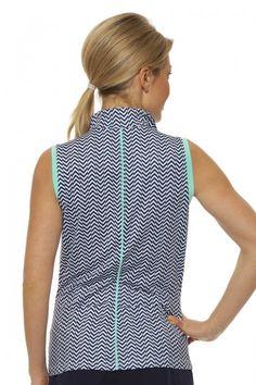 Women's Golf Clothes I GG Blue Chloe Sleeveless Women's Golf Polo : Breeze with Fresh
