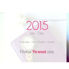 2015 Filofax personal size - calendar, lists, monthly tracker, events, goals - INSTANT DOWNLOAD Price € 7,90