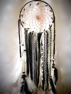 Black and White Large Gypsy DreamCatcher by WildHeartWolf on Etsy