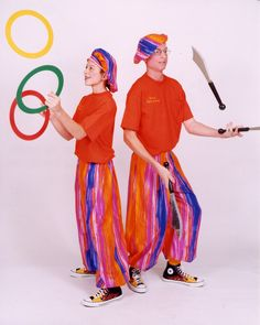 I fear these guys even more than the rainbow MC Hammer pants they're wearing and the faux scimitars the guy on the right is fondling. It's not gay marriage or bad fashion that will bring the downfall of modern civilization, it's something much more nefarious: jugglers.
