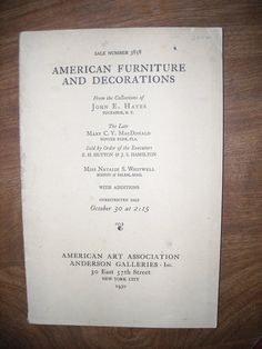 American Art Association Anderson Galleries (1930) Catalogue 3858 ~~ For Sale at Wenzel Thrifty Nickel eCRATER store