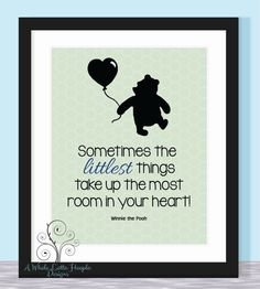 Disney Winnie the Pooh Quote Typographic Print - It's the Little Things - Baby, Kids, Family, Love, Nursery Print, Baby Shower Gift