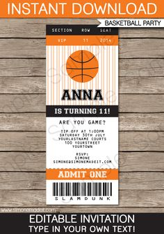 Basketball Ticket Invitation Template | Birthday Party Invitations | Team Parties | March Madness | Editable DIY Theme Template | INSTANT DOWNLOAD $7.50 via SIMONEmadeit.com