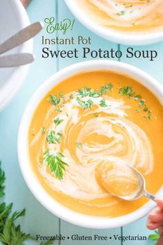 "A delicious, beautifully balanced Instant Pot Sweet Potato Soup! A family treasure - now healthier and easier but still ""PERFECT""! Freezable, too! Healthy Thanksgiving Recipes, Healthy Soup Recipes, Healthy Chili, Holiday Meals, Holiday Recipes, Vegetarian Soup, Vegetarian Recipes, Easy Meal Prep, Easy Meals"