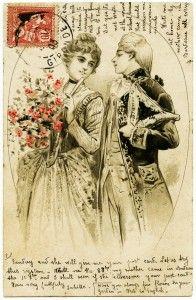 free printable digital image design resource ~ vintage French postcard ~ romantic couple