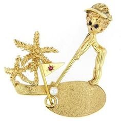 William-Ruser-Lady-Golfer-Palm-Tree-Pearl-Ruby-Sapphire-Pin-14K-Yellow-Gold