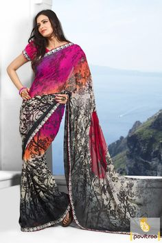 #Pavitraa Pink, #Orange, Off White and #Black Printed #Sarees Rs 999.9