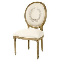 bbd947646d6cd French Country Laurel Leaf on Linen Oval Back Medallion Dining Chair  Parisian Apartment