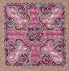 August 2006 Complementary Chart - Breast Cancer Awareness Mandala (cross stitch) from Ink Circles Free Cross Stitch Charts, Cross Stitch Freebies, Cross Stitch Love, Cross Stitch Designs, Cross Stitch Patterns, Cross Stitching, Cross Stitch Embroidery, Blackwork, Firefighter Cross