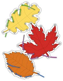 Lacing cards: Autum leaves to improve fine motor skills. Preschool Activity Sheets, Me Preschool Theme, Preschool Number Worksheets, Preschool Art Projects, Flashcards For Kids, Preschool Writing, Numbers Preschool, Preschool Learning, Kindergarten Worksheets