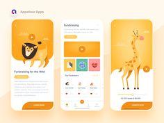 Hi Designers,Check out fundraising app concept by Pamela Agustin! App Ui Design, Mobile App Design, User Interface Design, Icon Design, Application Design, Mobile Application, App Design Inspiration, Types Of Buttons, Mobile App Ui
