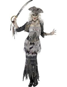 Female Pirate Ghost Halloween Costume Adult Zombie Fancy Dress Outfit #Smiffys