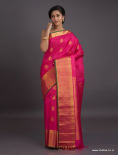 Incredibly beautiful with delicacy of pink and royalty of gold and finesse of silk, this Gadwal saree is here to appease your senses. Gadwal sarees are renowned for admirable zari patterns and well-crafted pure silk kuttu borders and pallus. Exhibiting a remarkable trait of getting folded down to the size of a matchbox, our Gadwal Silk Sarees online have demand throughout the country.
