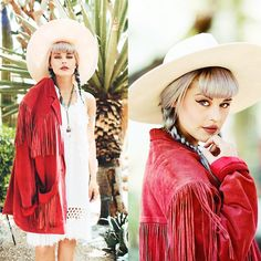 Kayla McC - Lack Of Color Montana Wide Brimmed Hat, Desperado Vintage Fringe Jacket, N/A Fringe Dress, Vida Kush Aqua Septum Ring - DESPERADO