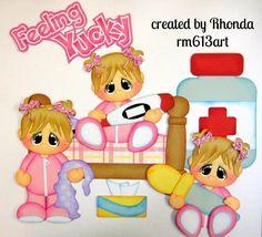 Feeling Yucky Girl paper piecing set premade scrapbook pages Rhonda rm613art