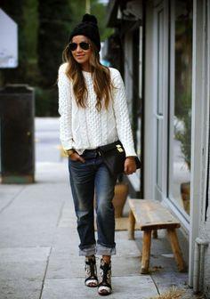 Boyfriend Jeans Winter Outfit 2017 Street Style