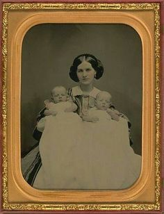 Beautiful Victorian Daguerreotype portrait of mother and her baby twins.