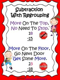 FREE Subtraction With Regrouping Visual For Students- #math  #subtraction  #freemath