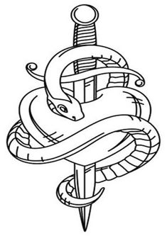 Flash Art Tattoos, Body Art Tattoos, Cool Art Drawings, Art Drawings Sketches, Easy Drawings, Tattoo Drawings, Tattoo Sketches, Snake And Dagger Tattoo, Snake Coloring Pages
