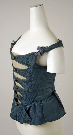 18th century, late. Corset front.  European, silk, baleen, leather, cotton. metmuseum.org