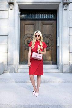 red dress with rose quartz pink bag