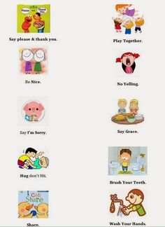House Rules, Good Manners Poster, Time Out List, Printable and Editable with pictures for toddlers that cannot read