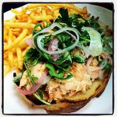 Tartine du Jour@brasserieSTL- salmon rillettes, pickled onion, shaved fennel, and arugula!
