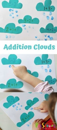 Addition Clouds - this is a fun preschool where math exercises . - paint Emma Fisher drawings - Addition Clouds – this is an entertaining preschool where math exercises … – - Preschool Learning, Kindergarten Activities, Classroom Activities, Preschool Activities, Teaching, Preschool Centers, Nursery Activities Eyfs, April Preschool, Counting Activities