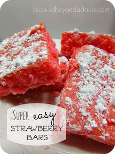 This strawberry bars recipe is so easy and sweet! Perfect for any gathering.