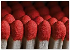 An army of red phosphurus match stick tips #red #matchsticks