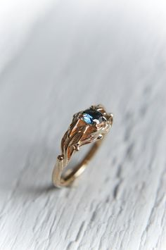 Sapphire engagement ring, unique engagement ring, wedding ring, leaf ring, branch ring, nature ring, blue sapphire ring, gold ring, custom