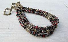 Black Cherry Seed Bead Bracelet: Czech Glass, Triple Strand, Beaded Wristband, Bohemian, Hippie Chic